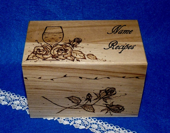 Decorative Recipe Boxes Brilliant Decorative Wood Burned Wedding Recipe Card Box Rustic Wooden Inspiration