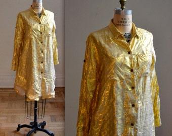 90s Gold Metallic Shirt Oversized Size Large
