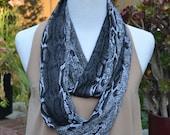 Infinity scarf, loop, tube, circle, snake print infinity, summer scarf, fall scarf