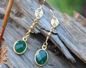 Emarald earrings, Gemstones earrings, bezel set earrings