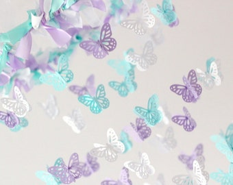 Butterfly Nursery Mobile- Lavender, Tropical Blue & White- Baby Shower Gift, Photographer Prop, Nursery Decor