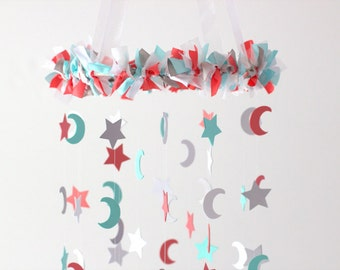 Aqua, Coral, Gray & White Moon and Star Nursery Mobile- Nursery Decor, Baby Shower Decor, Baby Gift
