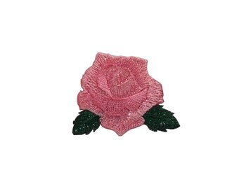 ID #6192 2IN Pink Rose Blossom Flower Love Iron On Embroidered Patch Applique