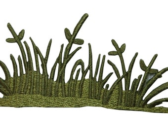 ID #7241 Tall Unkept Jungle Grass Plant Flora Iron On Embroidered Patch Applique