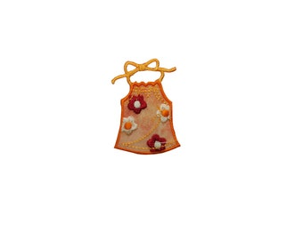 ID #7717 Orange Flower Dress Fashion Iron On Embroidered Patch Applique