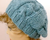 Mans or Womans Hand Knit Cable Slouch Hat Beret Color Soft Light Teal (H-112)