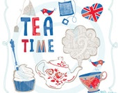 It's Tea Time - Red, White and Blue Snackish Clip Art