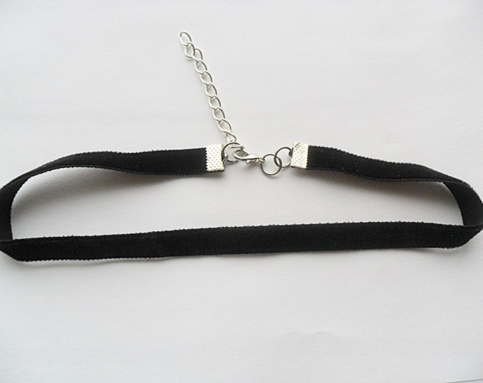 "Black plain velvet choker necklace adjustable with a width of 3/8"" long Ribbon Choker Necklace (pick your neck size)"
