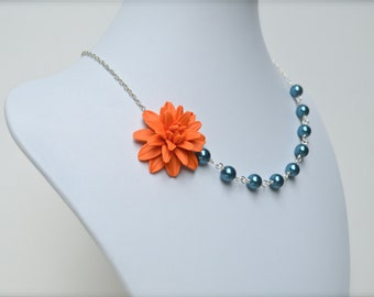 Orange and Teal Blue Rose Necklace, Orange and Teal Blue Flower Necklace, Fall/Autumn Necklace, Fall Bridesmaid Necklace