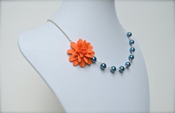 https://www.etsy.com/listing/159115269/orange-and-teal-blue-rose-necklace