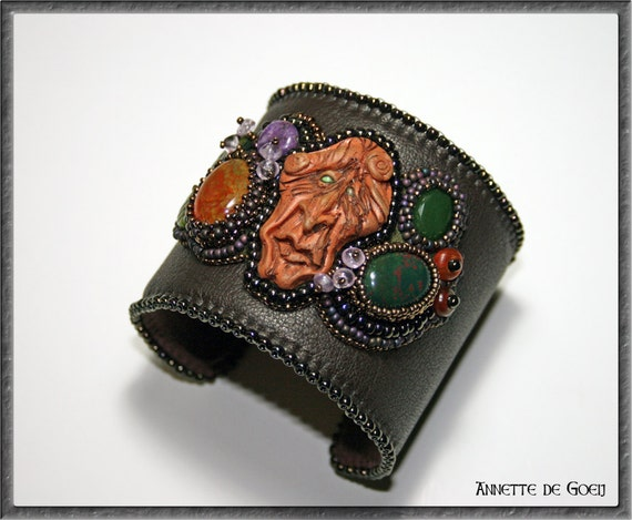 Leather bead embroidered cuff tree spirit by jirikidesigns