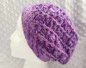 Crochet Slouchy Hat Lavender Beanie Orchid Women's Hat Ready to Ship