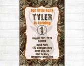 Camo Birthday Invitation - Buck Hunting 1st First Teen 50th 60th