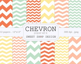 Digital Paper, Printable Scrapbook Paper Pack, 12x12,  Chevron N06, Set of 12 Papers