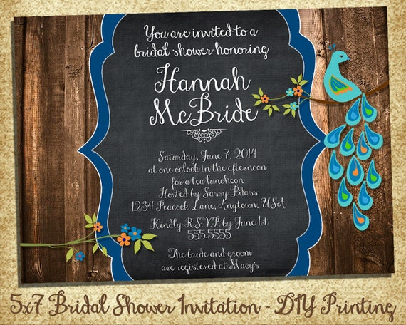 d3951beaebe the Pretty Peacock Collection - Bridal Shower Invitation with Barnwood -  Printable Customized Invitations - DIY Printing - Rustic Wedding