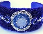 Moonstone and Sapphire Cuff - Bead Embroidered September Birthstone Cuff / Bangle