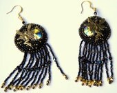 PATTERN for Bead Embroidered Moon Fairy Earrings.