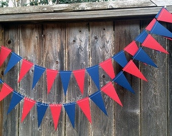 Vintage or  Rustic Pennant Banner/ Triangle Garland- Dark Red and Navy Blue