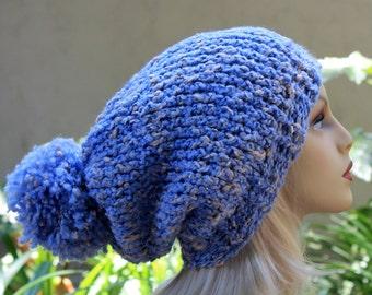 Hand Knit, Light, Sky Blue, Cream Flecks, Acrylic/Polyester/Cotton, Slouchy, Over Sized, Beanie Hat Large Pom Pom Two Inch Headbaband