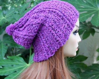 Hand Knit, Plum Purple, Slouchy, Over Sized, Rib Knit, Acrylic, Beanie Hat Small Pom Pom, Men, Women Fall, Winter, Back to School