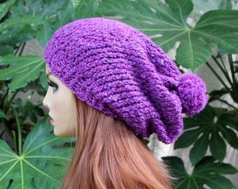 Hand Knit, Plum Purple, Slouchy, Over Sized, Acrylic, Beanie Hat Medium Pom Pom and Two Inch Headband Man Woman Fall Winter Back to School