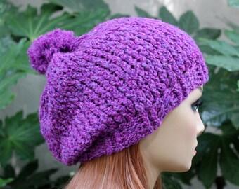 Hand Knit, Plum Purple, Slouchy, Acrylic, Beanie, Hat Medium Pom Pom Two Inch Headband Women or Men, Fall, Winter, Back to School