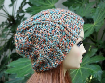 Hand Knit, Acrylic/Poly, Turquoise, Coral and Gold, Rib Knit, Slouchy, Over Sized, Beanie Hat for Women or Men, Fall, Winter, Back to School
