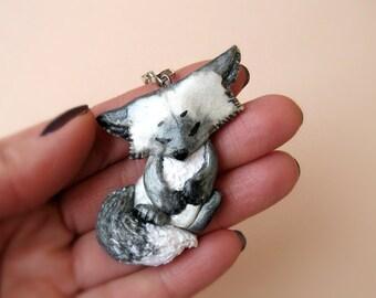 Silver Fox pendant, Animal jewelry, Made to order, Cute Fox, Cute Fysmals, Fox pin, Fox brooch