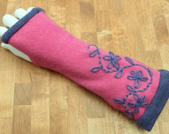 Pink and  blue cashmere fingerless gloves