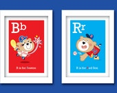 """Red Sox ABC prints (8"""" W x 10""""H) - Set of 2 Unframed - Customization available"""