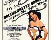 Vintage Pin Up Girl Invitation- Bachelorette party, Hens night, Lingerie Shower Birthday invite diy print file PRINTABLE
