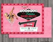 viva las vegas Vintage Pin Up Girl Invitation- Bachelorette party, Hens night, Lingerie Shower print file PRINTED OPTIONAL