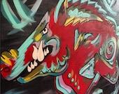 Funky Arkansas Colorful Razorback Painting ready for football season