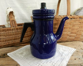 Vintage Cobalt Blue Enameled Kaj Franck Finel Tea/Coffee Pot, Finland