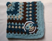 Crochet Owl Blanket in Teals and Browns, Stroller Blanket, Shower Gift, Security Blanket, Warm and Cuddly, Machine Wash and Dry, Car Seat