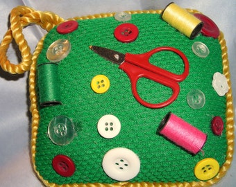 Vintage Pincushion Pillow ....Sewing Notions.....Hanging Pincushion......MC1