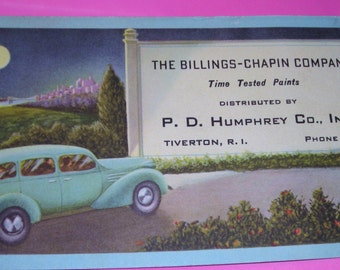 Antique Ink Blotter Ad .....Full Moon with  1940's Blue Auto