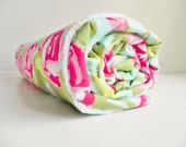 Minky Baby, Toddler Blanket, Tumble Roses in Pink Amy Butler and White Minky