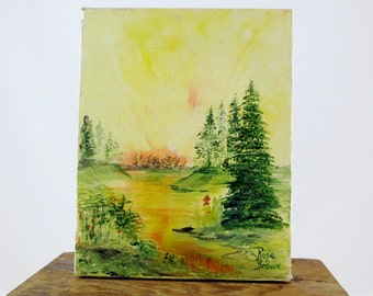 Vintage Oil Painting Original Signed by Rose Brown / 8 x 10 on Canvas Impressionist Landscape