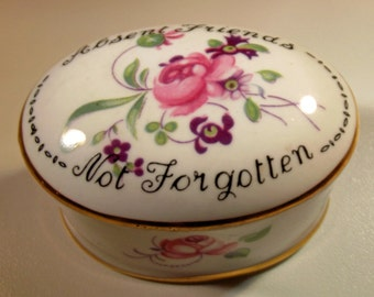 Box Crown Staffordshire Vintage Porcelain Absent Friends Not Forgotten Roses Violets Gift Trinket Treasure Box