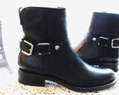 Vintage NOS Beautiful Black Leather Equestrian Black Leather Buckle French Country Ankle Riding Walking Boots Leather Lined size 6
