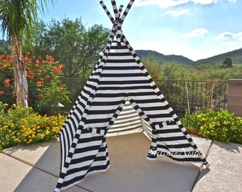 Black and White Stripe TeePee (Made to Order) -- Fort  Tent  Indoor Outdoor Play Photo Prop Tee Pee Playhouse