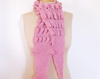 Knitt Unisex Alligator/Gator/Crocodile Chunky Scarf , Crocodile Scarf in Pink, UK Seller