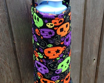 Water Bottle Carrier/Sling (Adjustable Strap)  Halloween Skulls Fabric, insulated