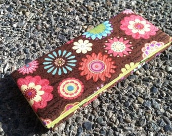 Magic Wallet - Bright Flowers on Brown
