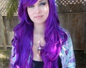 Illicit Dreams / Purple and Neon Violet / Long Curly Layered Wig Mermaid Hair Lolita Natural Scalp Piece