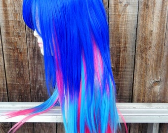 Purple, Pink and Blue / Long Straight Layered Wig with Scalp Piece