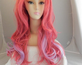 Tickle Me Pink and Lavender / Long Wavy Lace Front Wig Full Body Curly