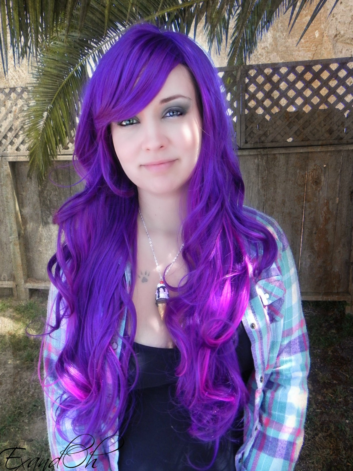 Illicit Dreams Purple And Neon Violet Long Curly By