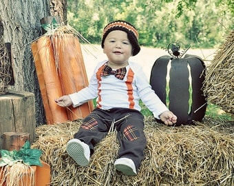 GET THE SET - Baby Boy Tie Bodysuit with Suspenders, Bowtie, and Matching Hat. Thanksgiving Fall Harvest Plaid.  Fall Photo Prop